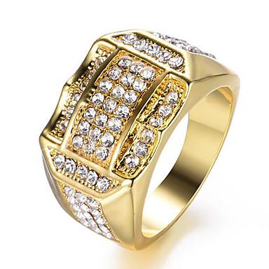 levne Pánské šperky-Pánské Band Ring 1ks Zlatá Stříbrná Kamínky a křišťál Měď Štras Čtvercový stylové Moderní Denní Práce Šperky Vystřižený Dláždit Drahocenný Cool Půvab / Pozlacené