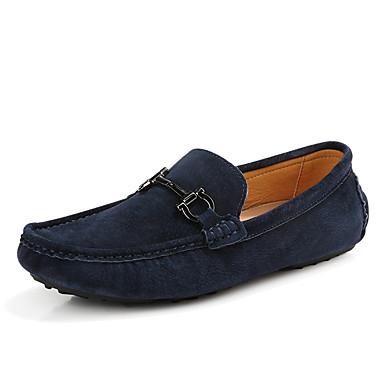 בגדי ריקוד גברים מוקסין סוויד סתיו / אביב קיץ יום יומי / בריטי נעליים ללא שרוכים הליכה נושם כחול כהה / אפור / חאקי