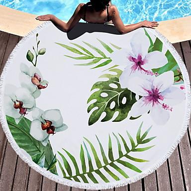 preiswerte Handtücher und Bademäntel-Gehobene Qualität Strandtuch, Blumen / Pflanzen 100% Mikrofaser 1 pcs
