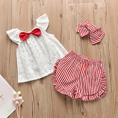 povoljno Odjeća za bebe-Dijete Djevojčice Aktivan Prugasti uzorak Mašna Kratkih rukava Regularna Kratak Komplet odjeće Red