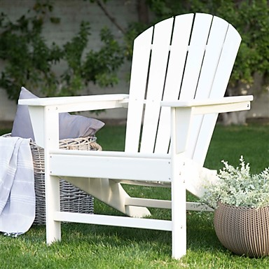 Awe Inspiring 309 74 Outdoor Weather Resistant Patio Deck Garden Adirondack Chair In White Resin Gamerscity Chair Design For Home Gamerscityorg