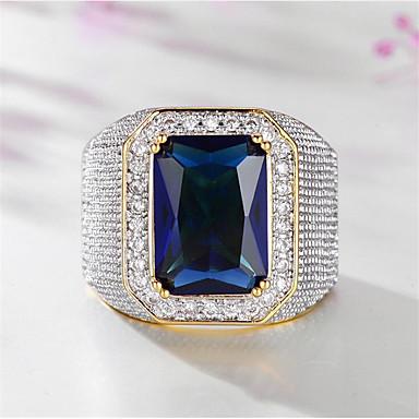 levne Pánské šperky-Pánské Prsten Syntetický akvamarín 1ks Zlatá Titanová ocel Geometric Shape stylové Párty Dar Šperky Klasika Šťastný Cool