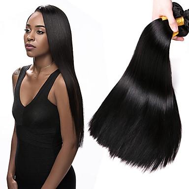 povoljno Ekstenzije od ljudske kose-4 paketića Brazilska kosa Ravan kroj 100% Remy kose tkanja Bundle Ljudske kose plete Produžetak Bundle kose 8-28 inch Prirodna boja Isprepliće ljudske kose Odor Free Sexy Lady Najbolja kvaliteta
