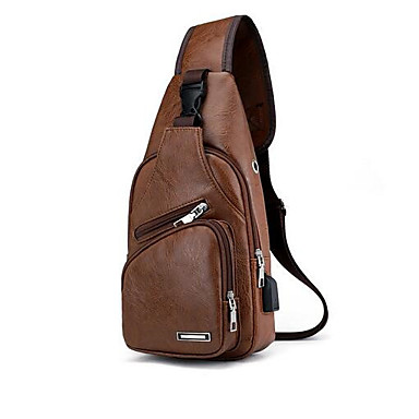 cheap Men's Bags-Waterproof Sling Shoulder Bag Chest Bag Men's PU Leather Zipper Solid Color Daily Outdoor Dark Brown Black Brown