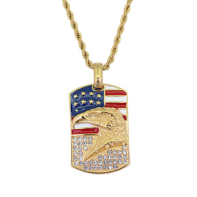 cheap Pendant Necklaces-Men's Pendant Necklace American flag Eagle Flag Patriotic Jewelry European Trendy Casual / Sporty Stainless Steel Gold 60 cm Necklace Jewelry 1pc For Gift Daily Festival