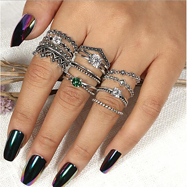 Dame Band Ring Ring Set Multi-fingerring 12pcs Sølv Strass Opal Legering Rund Vintage Bohemsk Bohem Daglig Gate Smykker Vintage Stil Kul Smuk