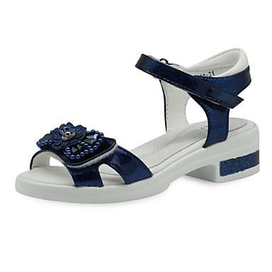 ราคาถูก Thick Soled Sandals-เด็กผู้หญิง ความสะดวกสบาย PU รองเท้าแตะ สีเงิน / ฟ้า ฤดูร้อน