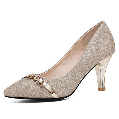 preiswerte Damenschuhe-Damen High Heels Party Heels Kitten Heel-Absatz Kunststoff Süß / Minimalismus Frühling & Herbst / Sommer Gold / Silber