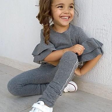 povoljno Odjeća za bebe-Dijete Djevojčice Osnovni Jednobojni Dugih rukava Regularna Komplet odjeće Obala