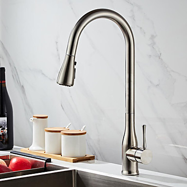 [$88.57] Kitchen faucet - Single Handle One Hole Painted Finishes Pull-out  / Pull-down Free Standing Contemporary Kitchen Taps