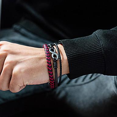 levne Pánské šperky-Pánské Kožené náramky tkalcovský stav náramek Crossover Nekonečno Prohlášení stylové Punk Moderní Rokové Titanová ocel Náramek šperky Stříbrná Pro Párty Dar Denní Karneval Klub