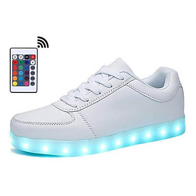 Unisex Comfort Shoes Light Up Shoes Fall / Winter Sporty / Casual / USB Charging Daily Outdoor Sneakers Walking Shoes Synthetics Breathable Remote Control Non-slipping White