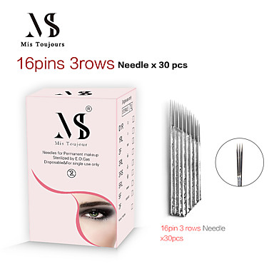 [$4.99] 30pcs Fast Coloring Manual Microblading Needles 3 Rows 16Pin Bevel  Tebori Tattoo Blades For Permanent Makeup Eyebrows Lips
