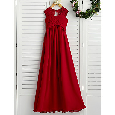 cheap Baby & Kids-A-Line Square Neck Floor Length Chiffon Junior Bridesmaid Dress with Lace / Ruching