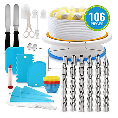 cheap Home & Garden-100pcs Silicone Plastic Stainless steel Multifunction DIY For Cake For Cookie Multifunction Baking & Pastry Tools Bakeware tools