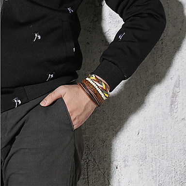 voordelige Herensieraden-4pcs Heren Kralenarmband Lederen armbanden loom Bracelet Gevlochten Patroon Statement Punk modieus Rock Kleurrijk Titanium Staal Armband sieraden Bruin Voor Feest Lahja Dagelijks Carnaval Club