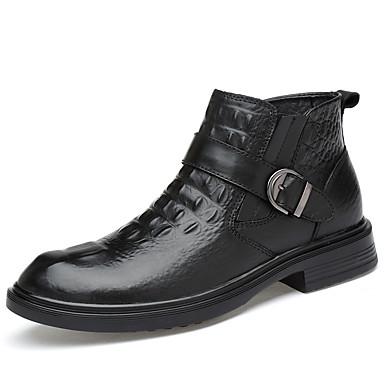 בגדי ריקוד גברים נעלי עור עור נאפה Leather חורף יום יומי / בריטי מגפיים הליכה שמור על חום הגוף מגפונים\מגף קרסול שחור