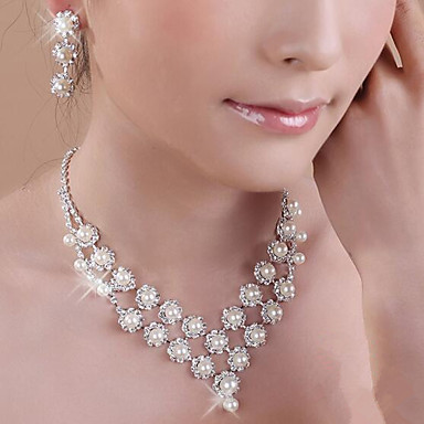 levne Dámské šperky-Perla Sady šperků Náhrdelníky s přívěšky Třásně dámy Střapec Party Dvojitá vrstva Perly Zirkon Postříbřené Náušnice Šperky Bílá Pro Párty Narozeniny Zásnuby Dar / Umělé diamanty