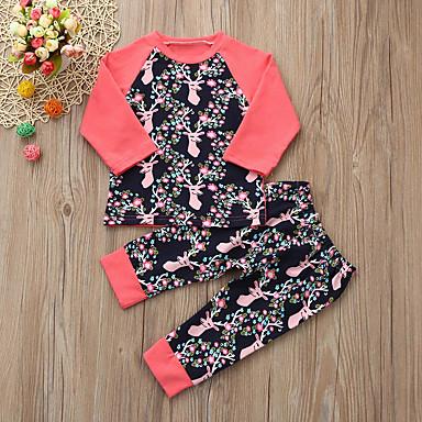 povoljno Kompletići za bebe-Dijete Djevojčice Aktivan / Osnovni Cvjetni print / Print Print Dugih rukava Regularna Normalne dužine Komplet odjeće Blushing Pink