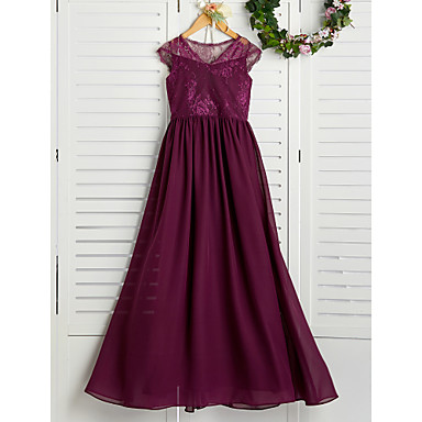 cheap Baby & Kids-A-Line V Neck Maxi Chiffon / Lace Junior Bridesmaid Dress with Appliques