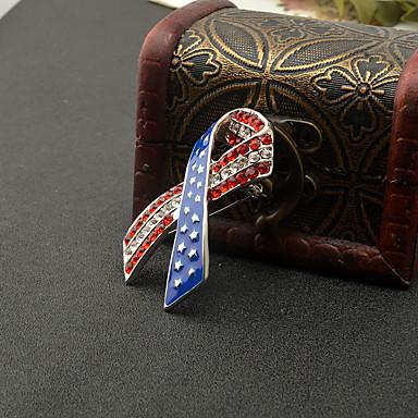 levne Dámské šperky-Dámské Brože Crossover americká vlajka Vlajka Vlastenecké šperky Evropský Moderní Módní Štras Brož Šperky Červená / modrá Pro Denní Festival