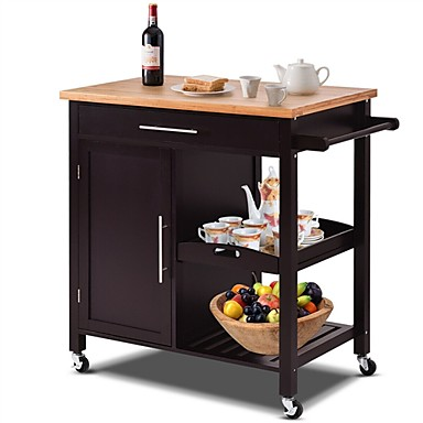 211 04 Modern Black Bamboo Kitchen Island Cart With Wood Top