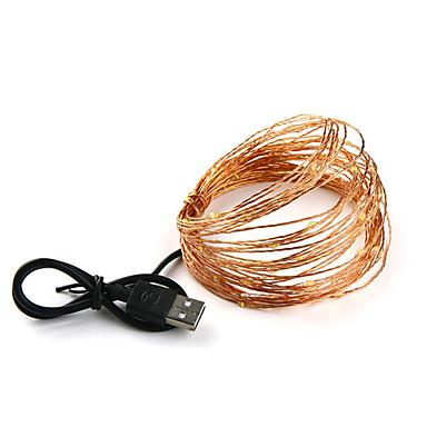 LOENDE 10מ' חוטי תאורה 100 נוריות לבן חם / RGB / לבן מופעל באמצעות USB