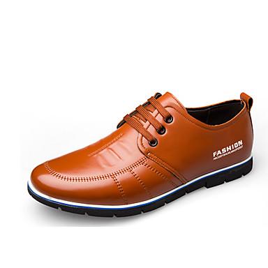 בגדי ריקוד גברים נעלי עור עור אביב קיץ בריטי נעלי אוקספורד ללבוש הוכחה שחור / כחול / חום / נעלי נוחות