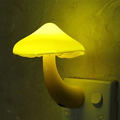 1pc צהוב פטריות לילה אור / קיר תקע אור לילד מקסים / אור שליטה 100-240 v