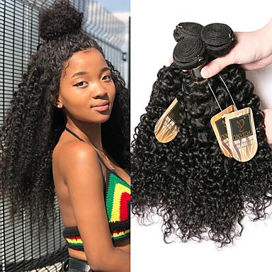 povoljno Ekstenzije od ljudske kose-4 paketića Brazilska kosa Kinky Curly Virgin kosa Ljudske kose plete Bundle kose Ekstenzije od ljudske kose 8-28 inch Prirodna boja Isprepliće ljudske kose Mini Svilenkast Najbolja kvaliteta