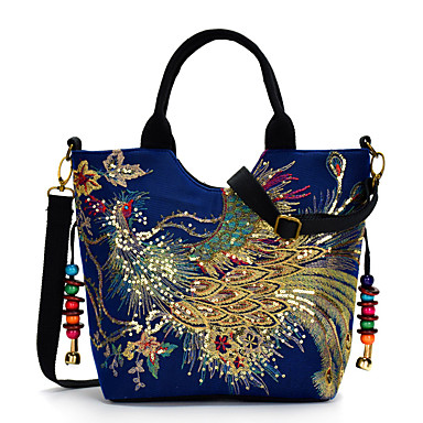 cheap Top Handles & Tote Bags-Women's Embroidery Canvas Top Handle Bag Embroidery Blue / Black / Red / Fall & Winter