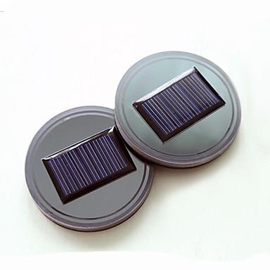 voordelige Auto-interieur accessoires-2-pack solar led-licht bekerhouder bodemkussen mat interieur voor alle auto's