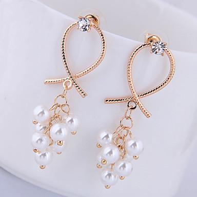levne Dámské šperky-Dámské Visací náušnice Náušnice houpat náušnice Vínová korejština Sladký Módní Cute Style Elegantní Napodobenina perel Náušnice Šperky Zlatá Pro Párty Výročí Dar Denní Práce 1 Pair
