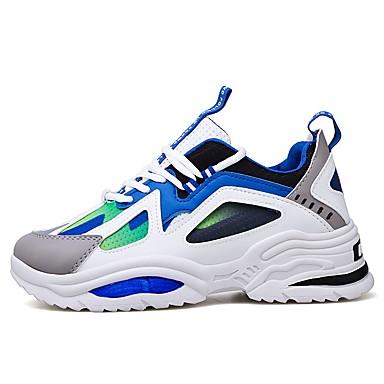 בגדי ריקוד גברים אור סוליות PU / בד גמיש אביב קיץ ספורטיבי נעלי אתלטיקה נושם שחור / לבן וכחול / שחור וצהוב