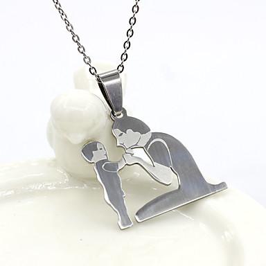 levne Pánské šperky-Pánské Dámské Stříbrná Náhrdelníky s přívěšky Řetízky Klasika Naděje Základní Nerez Stříbrná 50 cm Náhrdelníky Šperky 1ks Pro Dar