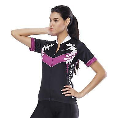ILPALADINO בגדי ריקוד נשים שרוולים קצרים חולצת ג'רסי לרכיבה שחור פרחוני  בוטני אופנייים ג'רזי צמרות עמידות UV רצועות מחזירי אור כיס אחורי ספורט 100% פוליאסטר רכיבת כביש ביגוד