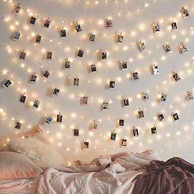 lende 5m 50 הוביל מחזיק תמונות מחזיק מואר מחרוזת האורות חם לבן / rgb / לבן עבור חג המולד מסיבת שנה חדשה צד החתונה הביתה אורות פיה אורות מופעל