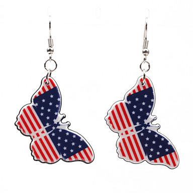 povoljno Modne naušnice-Žene Naušnica Klasičan Američka zastava Rukav leptir Zastava Patriotski nakit Europska pomodan Naušnice Jewelry Pink Za Dar Festival 1 par