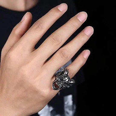 levne Pánské šperky-Pánské Vyzvánění Pinky Ring Stříbrná Nerez Titanová ocel Klasické Rokové Hip-hop Obřad Klub Šperky Lebka
