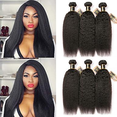 6 צרורות שיער ברזיאלי Kinky Straight 100% רמי שיער לארוג חבילות טווה שיער אדם שיער Bundle פתרון חפיסה אחת 8-28 אִינְטשׁ צבע טבעי שוזרת שיער אנושי מבריק מכירה חמה עבה תוספות שיער אדם