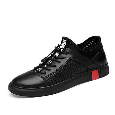 בגדי ריקוד גברים נעלי עור עור נאפה Leather סתיו / אביב קיץ ספורטיבי / יום יומי נעלי ספורט הליכה ללא החלקה שחור