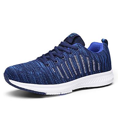 Homens Sapatos Confortáveis Tecido elástico Outono & inverno Esportivo Tênis Respirável Preto / Azul / Cinzento