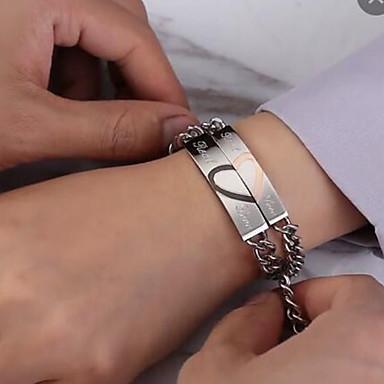 levne Pánské šperky-2pcs Pánské Dámské Řetězové & Ploché Náramky Geometrické Srdce Prohlášení stylové Moderní Sladký Elegantní Titanová ocel Náramek šperky Stříbrná Pro Svatební Zásnuby Dar Denní Slib