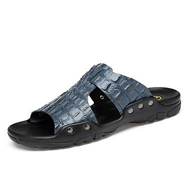 Ανδρικά Δερμάτινα παπούτσια Δερμάτινο Καλοκαίρι Κλασσικό / Καθημερινό Παντόφλες & flip-flops Αναπνέει Μαύρο / Καφέ / Λευκό