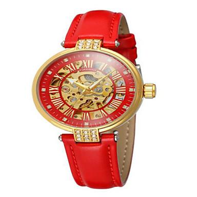 preiswerte Automatik Uhren-Damen Mechanische Uhr Modisch Elegant Schwarz Weiß Rot Echtes Leder Automatikaufzug Rote Rosa Gelb Wasserdicht Transparentes Ziffernblatt Analog