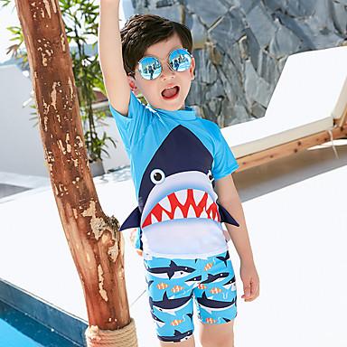 preiswerte Badebekleidung für Jungen-Kinder Jungen Geometrisch Baumwolle Bademode Blau
