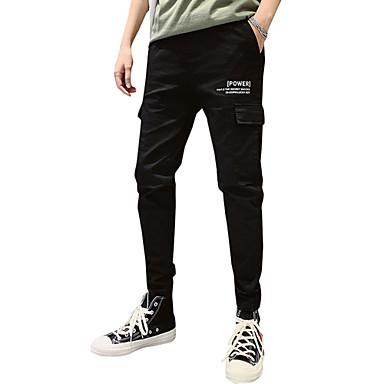 בגדי ריקוד גברים ספורטיבי / סגנון רחוב סקיני Jogger / צ'ינו מכנסיים - אחיד כותנה שחור ירוק צבא XL XXL XXXL