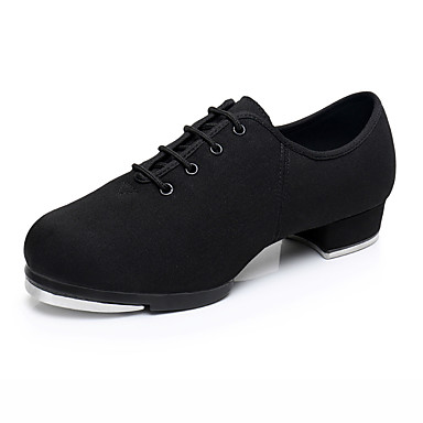 cheap Tap Shoes-Men's Dance Shoes Canvas Tap Shoes Heel Thick Heel Customizable Black / Performance / Practice