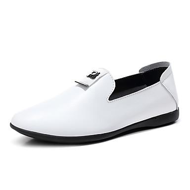 בגדי ריקוד גברים מוקסין עור אביב קיץ / סתיו חורף קלסי / יום יומי נעליים ללא שרוכים הליכה ללבוש הוכחה לבן / שחור