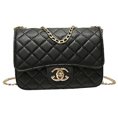 cheap Crossbody Bags-Women's Chain PU(Polyurethane) / PU Crossbody Bag Black / Blushing Pink / Silver / Fall & Winter